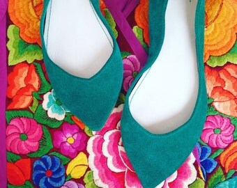 Ballet Flats Shoes Pointy Aqua Green Emerald Leather Slip on Ballerinas