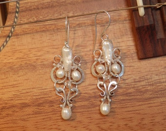 Bridal Pearl Chandelier Earrings, Hand Made forged Recycled Sterling Silver by JeanineDesigns