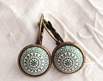 Green Mosaic Earrings. Green cabochon earrings. Mosaic cabochon earrings. Scandinavian earrings.  White and green earrings. Folk earrings