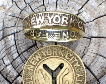 GIFT SET New York City Subway Token Ring + Token - Free Resizing - As Seen in the NY Daily News