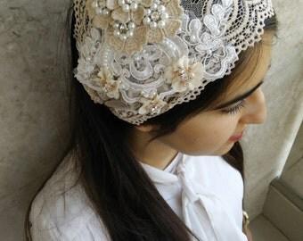 Lace headband,Cream & peach studded bow unique haarband, applique hair headband, by oshratdesignz