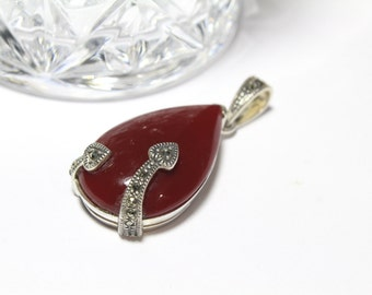 Carnelian and Marcasite Pendant in Sterling Silver 925
