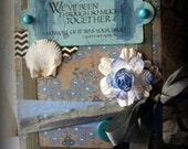 Funny Friendship Card, Best Friend Greeting card, Snarky friend card, Humorous handmade card, Denim blues colored card, Seashell card