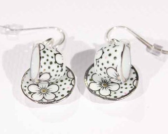 Black and White Teacup Earrings