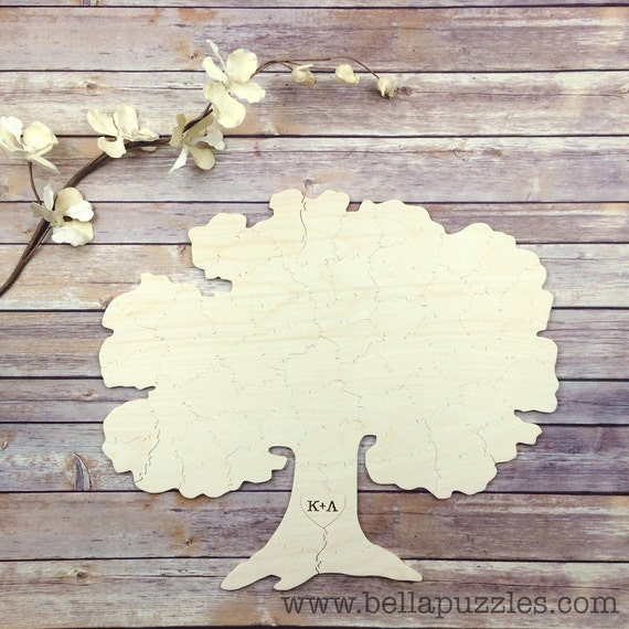 70 pc Wedding Guestbook Puzzle, guestbook alternative, wood TREE puzzle guest book, Bella Puzzles™. Rustic barn bohemian wedding.