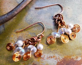 Wire Wrapped Jewelry, Wire Wrapped Earrings, Wire Wrapped Swirly