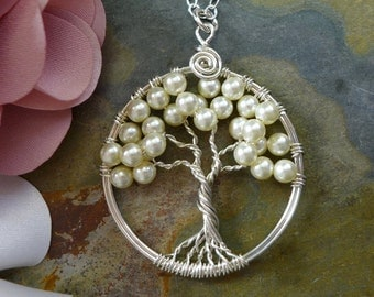 Bridal/Bridesmaid Pearl Necklace,Wire Wrapped Cream/Ivory Pearl Mini-Small Tree of Life Pendant,Pearl Tree of life Necklace-June Birthstone,