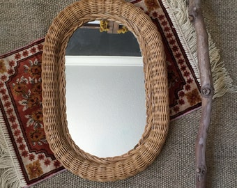 vintage oval wicker wall hanging mirror