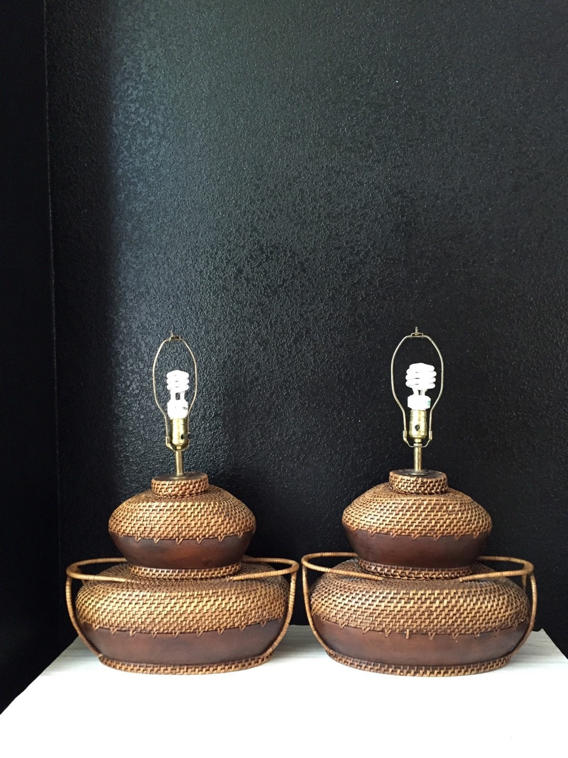 magnificent large pair of woven wicker wood table lamps. Black Bedroom Furniture Sets. Home Design Ideas