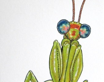 ACEO Mantispid - Original Watercolor and Ink Insect Art
