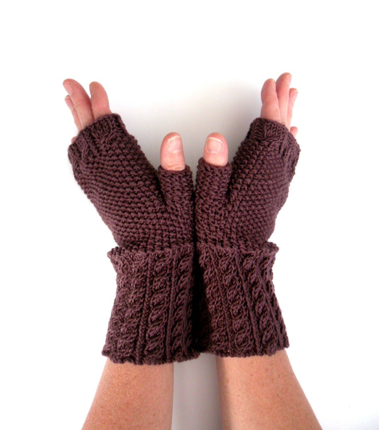 Knitting Pattern Cashmere Gloves : Cashmere / Silk fingerless gloves knitted hand warmers warm