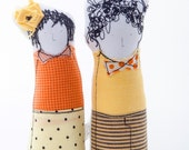 Soft sculptur Miniatures , twins dolls, two children, brother & sister, family portrait dolls , Yellow Peach tones -timo handmade eco dolls