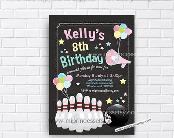 Bowling Birthday Invitations any age for kids birthday invitation chalkboard design bowling invitation design fun party for girl - card 241