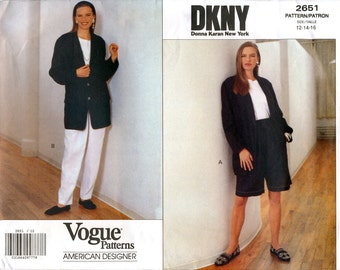 Vogue American Designer 2651 Sewing Pattern by DKNY for Misses' Jacket, Shorts and Pants - Uncut - Size 12, 14, 16