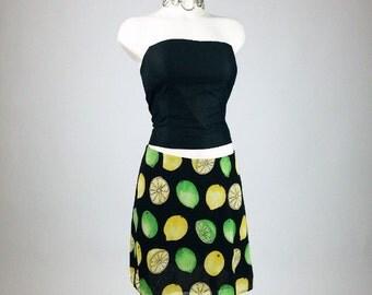 90's Lemon Lime Fruit Print Mini Skirt // M