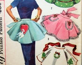 Vintage Simplicity 1846 Sewing Pattern, 1950s Apron Pattern, Half Aprons Hostess Aprons, 1950s Sewing Pattern, Holiday Apron, One Yard Apron