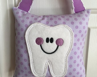 Tooth Fairy Pillow- Lavender with Lavender Polka Dots and Lavender Ribbon