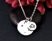 Libra Constellation Necklace Sterling Silver | Libra Necklace | Libra Sign Necklace | Libra Zodiak | Personalized Libra Birthday Gift