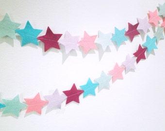 Star felt garland - fairy pastel coloured felt star banner, perfect for little girls room or birthdays