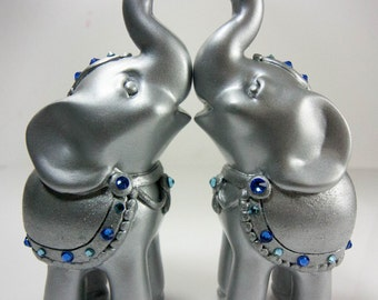 Custom Decorated Silver Elephant Wedding Cake Toppers with Swarovski Crystal Accents