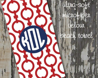monogrammed CHAIN beach towel - huge 30x60 ultra-soft microfiber velour
