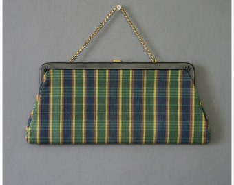 SALE - Vintage 1950s Purse 50s Navy Blue & Green Madras Plaid Clutch Purse with Chain Handle and Mirror Evening Bag