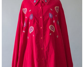 25% OFF SALE - Red Corduroy Shirt Embroidered Blouse 90s Shirt Paisley Shirt Button Up Cord Shirt Red Shirt Embroidery Shirt (Plus Size)