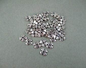 6mm Silver Flower Bead Caps - 50 Pieces