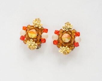 Vintage Fruit Salad Bead Clip Earrings 1960s Flower Mid Century Modern Boho Bohemian Jewelry Cocktail Earrings
