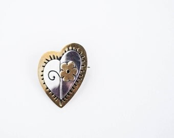 Vintage Far Fetched Sterling Silver and Brass Heart Pin Gift for Her Simple Classic Work Professional Jewelry