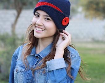 Womens knit hat, knit wool hat, Womens beanie, Navy blue hat, Warm hat, Knit winter hat, Hand knit Womens hat, Button hat, Hand knit beanie