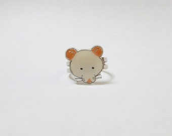Fancy Rat White Rat Ring Pet Rat Jewellery
