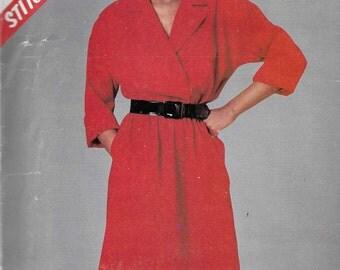 McCalls 8739 Women's 80s Mock Wrap Pullover Dress Sewing Pattern Bust 34 36 38