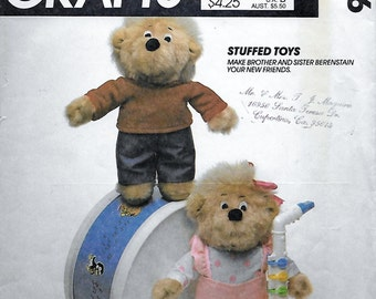 McCall's 9326 Ten inch Sister and Brother Bear Toys Sewing Pattern