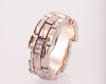 Brick Wedding Band, Gold Diamonds Wedding Band, tricolor wedding band, men's ring, wedding ring, wedding band, mens band, wall band