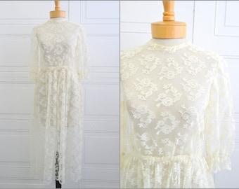 1970s Sheer Cream Lace Dress