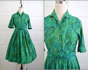 1950s Green Paisley Cotton Day Dress