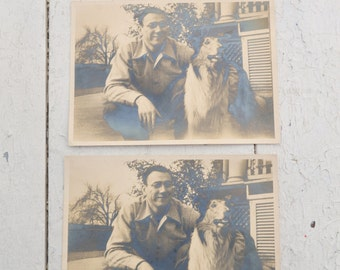 1940s Man and Collie Photos, Lot of 2