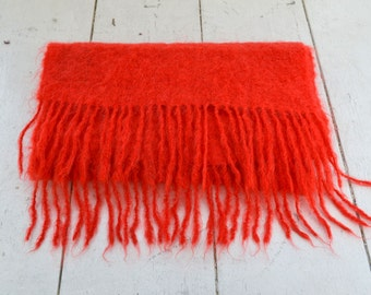 1960s Eagle Products Red Mohair Scarf