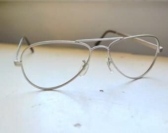 1970s NOS Wimbledon Aviator Silver Eyeglasses Frames