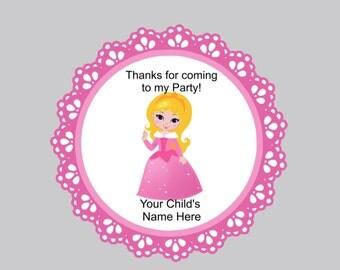 Set of 16 Princess favor tags princess sleeping beauty personalized princess tags favor tags bag tags thank you tags