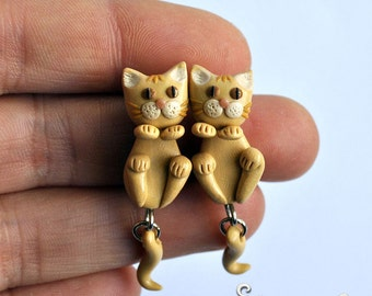 Creamy Cat Earrings, 2 parts stud earrings, Orange Cat, Ginger Cat