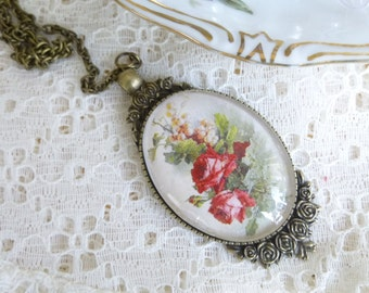 Cameo Pendant Antique Bronze Rose Floral Hand Made Cabochon Vintage Style Cameo Pendant Necklace on 24 inch Chain