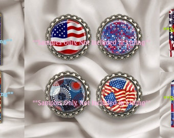 Sale 3 Sizes Patriotic Americana USA Digital Collage Sheets Scrabble Tile 27 MM 1 1/16 Inch Fat Circle & Square DIY Jewelry Instant Download