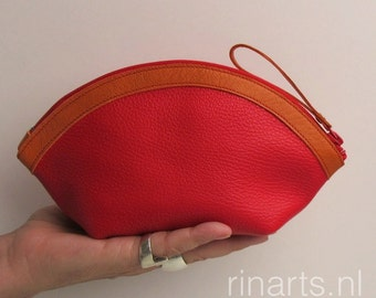 Zipper pouch / leather bag organizer / leather cosmetic bag WEDGE in Red cow leather and orange detailing