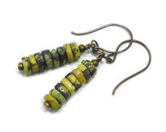 Yellow Turquoise Earrings, Green Stone Earrings, Boho Earrings, Beaded GemStone Earrings, Dangle