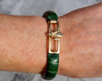 Gucci Green Leather Fleur De Lis Bracelet