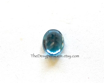 One Blue Topaz Smooth Polished and Faceted Cabochon Oval 11 x 9mm