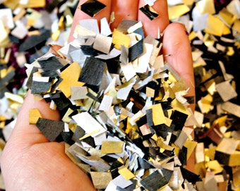 New Years Eve Confetti, White Black Silver and Gold Confetti, Biodegradable Metallic Confetti, Wedding Decor, Party Decorations