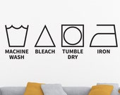 Laundry Room Decal, Laundry Decal, Laundry Symbols, Laundry Wall Decal, Laundry Room Wall Decor, Laundry Room Wall Decal, Vinyl Decal, Decal